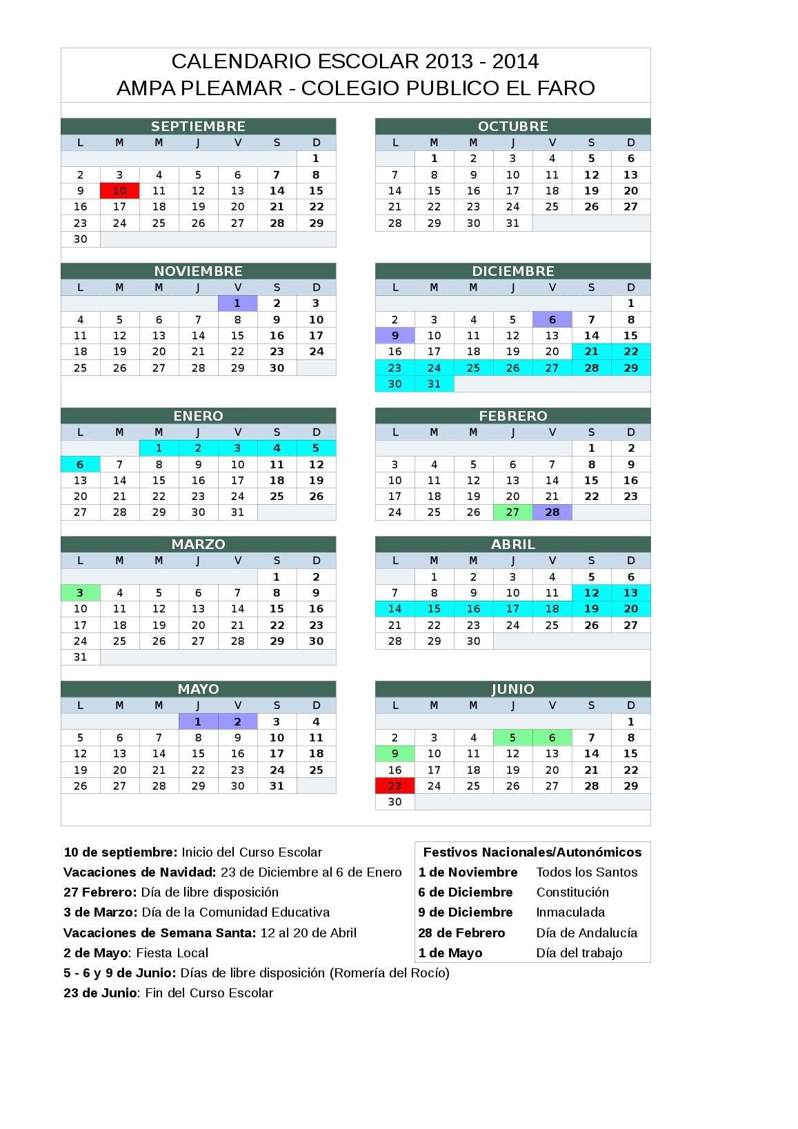 Calendario Escolar Huelva.Calendario Escolar 2013 2014 Ampa Pleamar